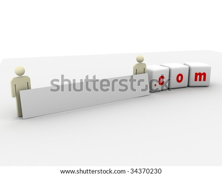 your international domain name with dot com at the end - stock photo