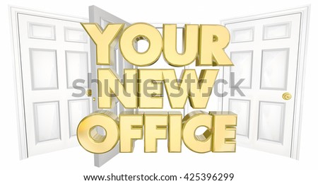 Your New Office Many Doors Words 3d Illustration - stock photo