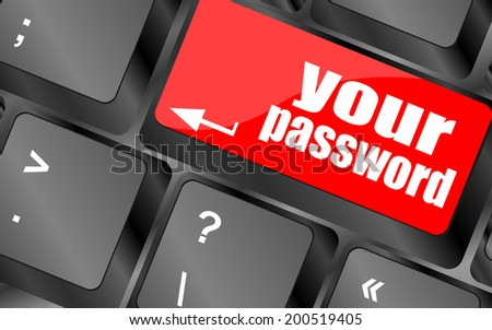 your password button on keyboard - security concept - stock photo