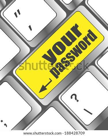 your password button on keyboard - security concept, keyboard keys - stock photo