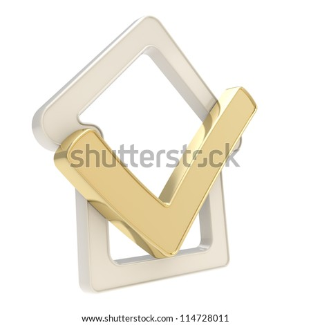 Your real estate property confirmed: checked house glossy emblem with golden yes tick icon inside isolated on white background - stock photo