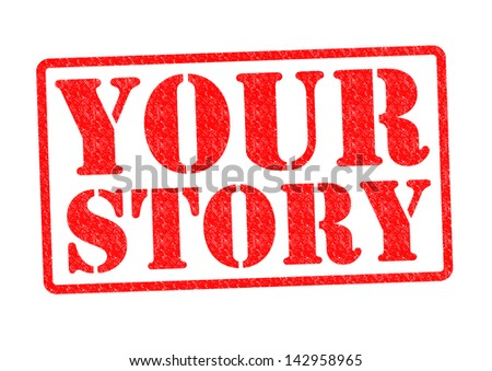 YOUR STORY Rubber Stamp over a white background.