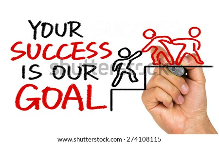 your success is our goal hand drawing on whiteboard - stock photo