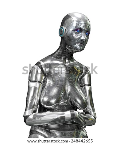 Your technology is getting old, time for an upgrade. 3D rendered elderly robot. - stock photo