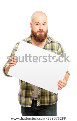 Your text here. Cheerful bearded man holding blank and smiling at camera while standing isolated on white background - stock photo