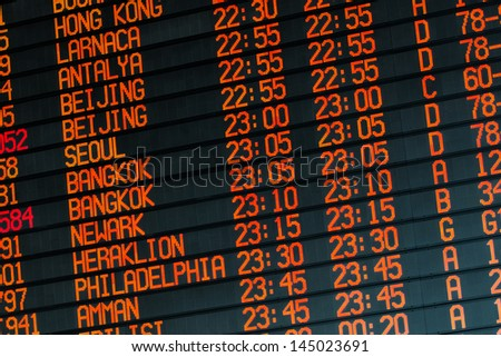 Your travel starts here: departures flights information schedule in international airport - stock photo