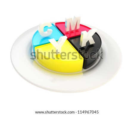Your typography order is ready and served: CMYK emblem icon over dish plate isolated on white background - stock photo