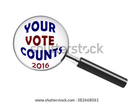 Your 2016 Vote Counts text under a magnifying glass - stock photo