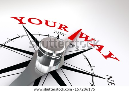your way conceptual compass rose on white background - stock photo