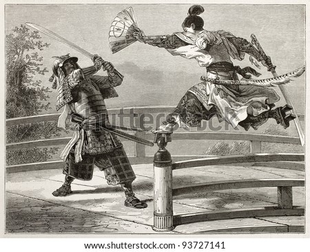 Youshitsune samurai fighting, great and popular warrior in Japanese tradition. Created by Bayard after painting by unknown japanese author, published on Le Tour du Monde, Paris, 1867 - stock photo