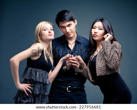 Youth cultur. group of stylish friends. - stock photo