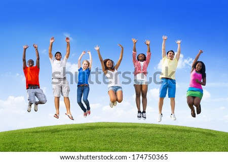 Youth Jumping - stock photo