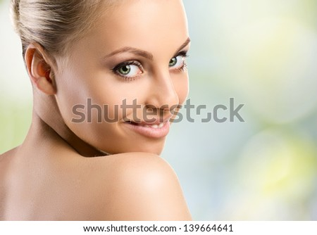 youth smiling woman look at camera on white background