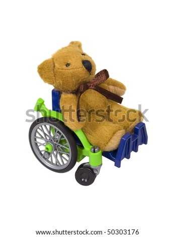 Youth wheelchair shown by a teddybear in a wheelchair used for assistance in personal transportation when ambulatory methods are unavailable - path included - stock photo
