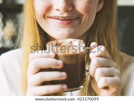 Youth Woman Drinks Hot Chocolate Tasty Concept - stock photo