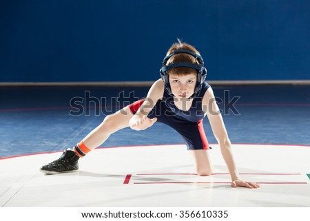 Youth wrestler in a stance