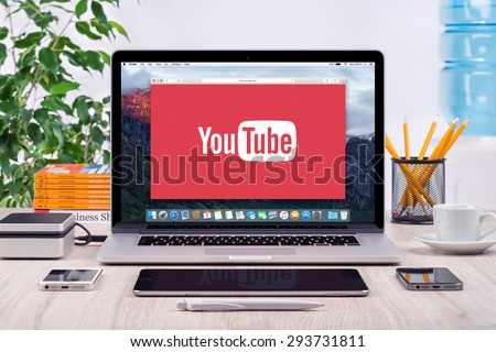 YouTube logo on the front view Apple MacBook Pro screen. YouTube presentation concept. YouTube is a video-sharing site allows users to upload, view, and share videos. Varna, Bulgaria - May 31, 2015. - stock photo