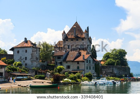 Yovire/France - June 06 2015 : Yvoire Castle by the Lamen lake, one of the most beautiful village in France