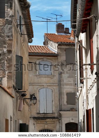ypical house of Provence. Old streets of Arles. France. Arles.