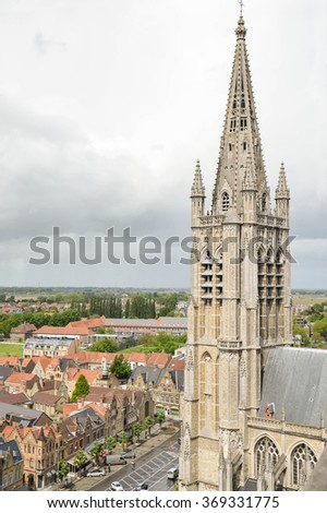 YPRES-BELGIUM-MAY 19, 2015: Vertical view of St. Martin's Cathedral, also called Sait Martin's Church. It was a cathedral and the seat of the former diocese of Ypres from 1561 to 1801 - stock photo