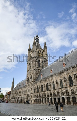 YPRES-BELGIUM-MAY 19, 2015: View of The Cloth Hall at Ypres in Belgium, a medieval commercial building, it was one of the largest commercial buildings of the Middle Ages.