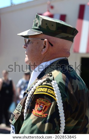 YPSILANTI, MI - JULY 4: Vietnam veteran marches at the 4th of July parade on July 4, 2014 in Ypsilanti, MI.