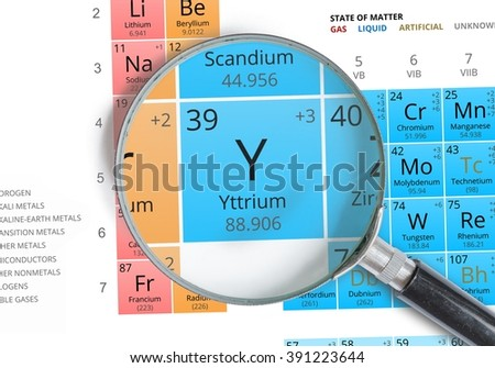 Yttrium symbol y element periodic table stock photo royalty free yttrium symbol y element of the periodic table zoomed with magnifying glass urtaz Gallery