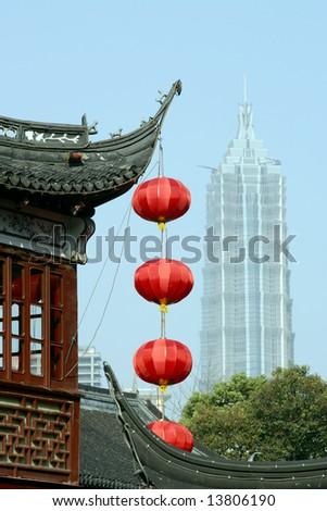 Yu Gardens and Jinmao Tower, Shanghai, China - stock photo