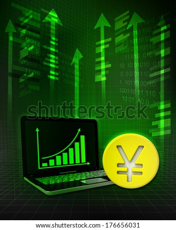 Yuan  golden coin with positive online results in business illustration - stock photo