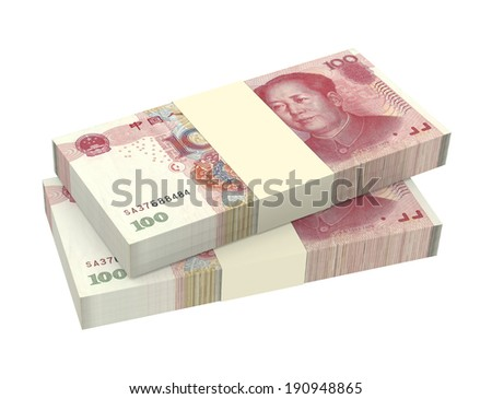 Yuan money isolated on white background. Computer generated 3D photo rendering. - stock photo