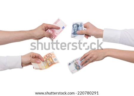 yuan or renminbi with euro concept exchange - stock photo