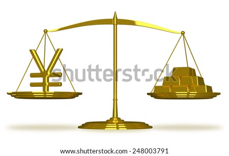 Yuan sign and gold bars on golden scales isolated - stock photo