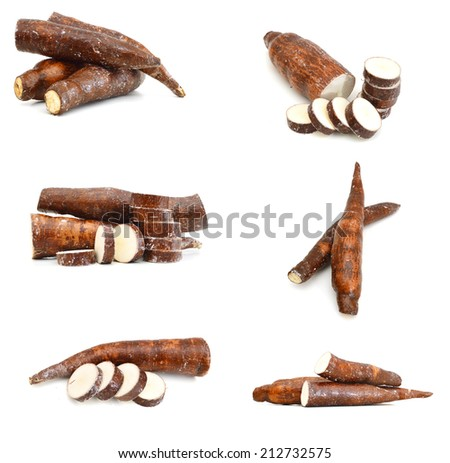 Yucca cassava roots, isolated on white  - stock photo