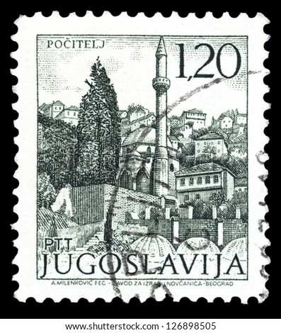 "YUGOSLAVIA - CIRCA 1972: A stamp printed in Yugoslavia shows city view of Pocitelj, with the same inscription, from series ""Yugoslavia city views "", circa 1972"