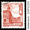 "YUGOSLAVIA - CIRCA 1980: A stamp printed in Yugoslavia shows city views of Vrsac, with the same inscription, from series ""Yugoslavia city views "", circa 1980 - stock photo"