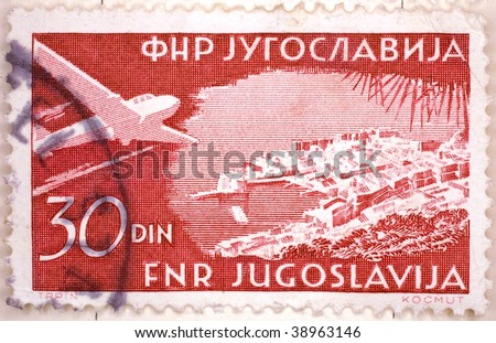 YUGOSLAVIA - CIRCA 1947: A stamp printed in Yugoslavia shows image of an airplane, series, circa 1947