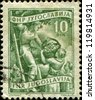 YUGOSLAVIA - CIRCA 1950: A stamp printed in Yugoslavia shows people colelcting apple, circa 1950 - stock photo
