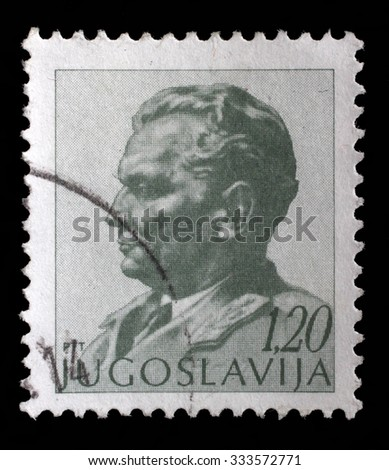YUGOSLAVIA - CIRCA 1974: A stamp printed in Yugoslavia shows portrait of Marshal Josip Broz Tito, circa 1974 - stock photo