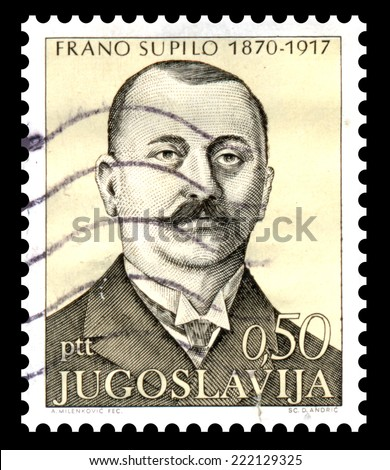 Yugoslavia - CIRCA 1971: Stamp printed in Yugoslavia and shows portrait of Frano Supilo with regard to centenary of birth this politican and journalist, circa 1971.
