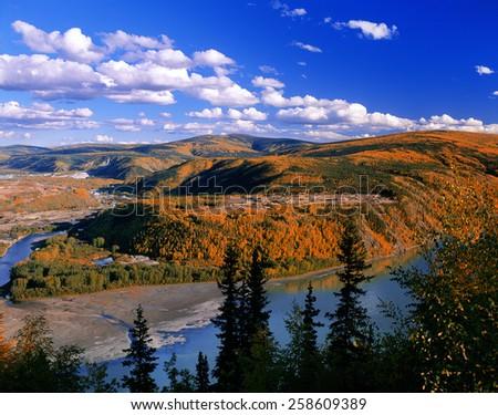 Yukon, Canada - confluence of Klondike River and Yukon River, near  Dawson City and Bonanza Creek - stock photo