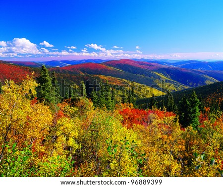 Yukon Mountains in the fall colours, Canada - stock photo