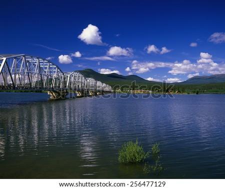 Yukon, Teslin Lake and Johnson's Crossing, Canada - stock photo