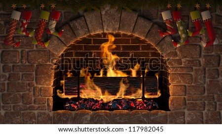 Yule Log in fireplace decorated with christmas stockings. - stock photo