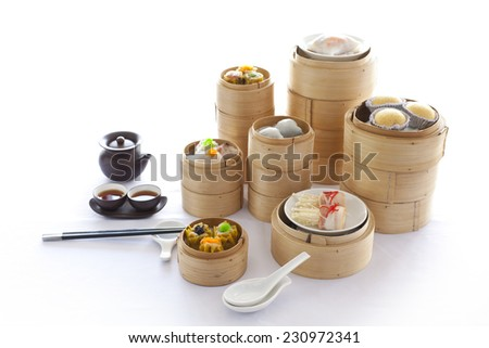 yumcha, dim sum in bamboo steamer, chinese cuisine - stock photo