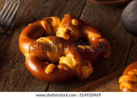 Yummy Cheesy German Soft Pretzels with Salt - stock photo