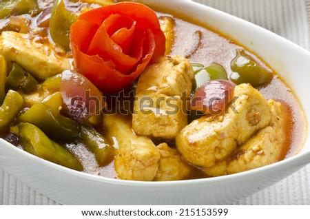 yummy chilli paneer - stock photo