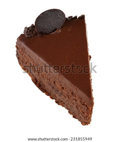 Yummy chocolate cake isolated on white
