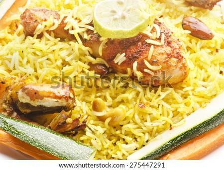 Yummy delicious chicken biryani  - stock photo
