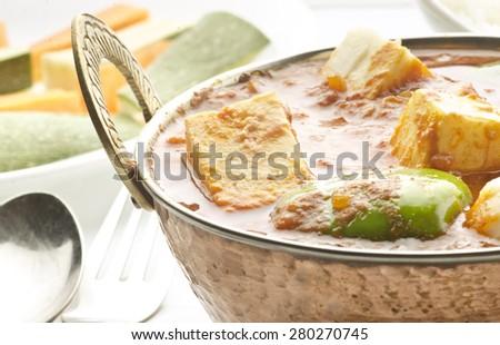 yummy delicious kadai paneer - stock photo