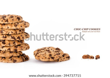 Yummy freshly baked chocolate chip cookies in a tall stack, three quarter eaten and lastly the remaining crumbs isolated on white background with sample text and copy space - stock photo